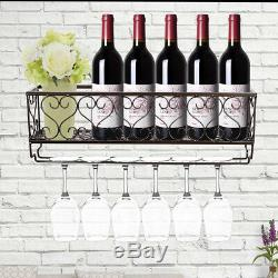 Wall Mounted Metal Wine Rack Glass Champagne Bottles Storage Organizer Holder