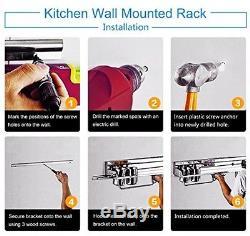 Wall Mounted Pan Pot Rack Kitchen Storage Shelf Spice Towel Hanging Organiser