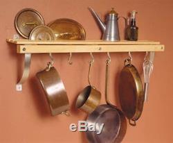 Wall Mounted Pot Rack Pan Skillet Shelf Wood Storage Hanging Organizer Hanger