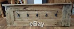 Wall Mounted Reclaimed Wood Coat Rack With Victorian Style Cast Iron Hooks