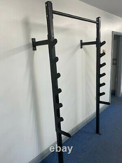 Wall Mounted Squat Bench Press Rack with Pull Up Bar for Home Gym Weightlifting