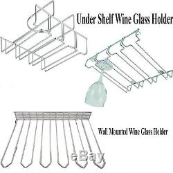 Wall Mounted Stainless Steel Wine Glass Holder Glassware Wine Under Shelf Rack