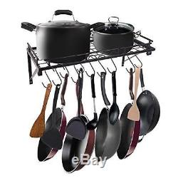 Wall Mounted Utensil Rack Hanging Saucepan Pot Kitchen Storage Space Saving Hook