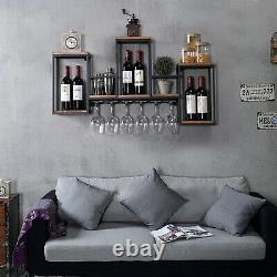 Wall Mounted Wine Rack Metal&Wood Bar Drink Bottle Storage Display Holder Shelf