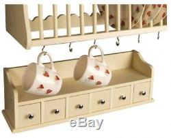 Wall Mounted Wooden Kitchen Dinner Plate Rack Spice Drawers Set Storage