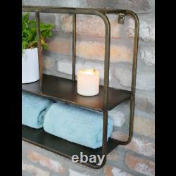 Wall Shelf With Adjustable Mirror Industrial Display Shelf Metal Storage Rack