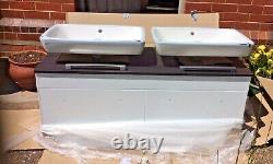 Wall mounted Double vanity bathroom unit with 2 countertop basins and tap