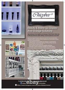 Wall mounted nail polish rack display frame white high gloss with led lighting
