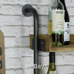 Wall mounted rustic industrial wine rack glass holder utility shelving kitchen