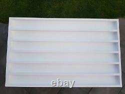 Wall mounted wood nail polish rack 100X60cm 8cm space between shelfs