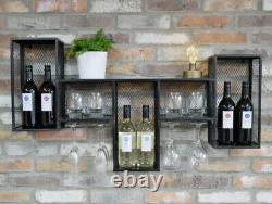 White Black Wall Mount Wine Rack Bottle Holder Champagne Glass Storage Metal