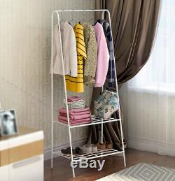 White Coat Hanging Stand Hat Bag Clothes Storage Shelf Shoe Rack Metal Stand