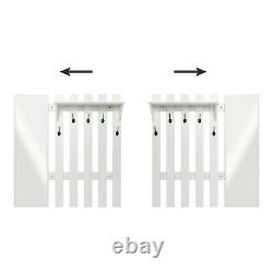 White Coat Rack 5 Hook Stand Shoe Storage Bench Organiser with Mirror Hallway