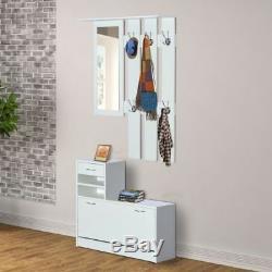 White Entryway Coat Rack Shoe Storage Organizer Bench Mirror Hallway Furniture