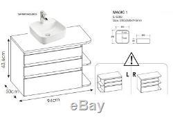 White Gloss Oak Bathroom Set Vanity Sink Counter Basin Wall Hung Tall Unit Plat