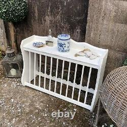 White Hand Painted Country Farmhouse Brocante Style Vintage Wall Plate Rack Unit