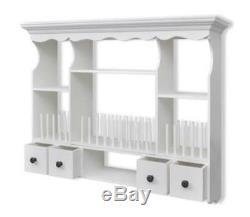 White Kitchen Wall Storage Unit Hooks Drawers Shelves Plate Mounted Rack Cabinet