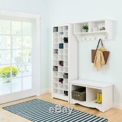 White Shoe Storage Cabinet Space Saving Standing Wood Rack Shelf Organizer Box