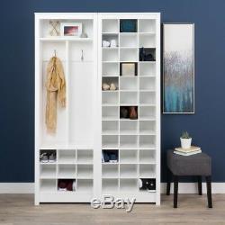 White Space Saving Shoe Storage Cabinet Entryway Shelf Rack Organizer Tall Wood