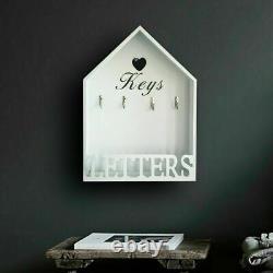 White Vintage Wooden Hanging Key Hooks & Letter Rack Storage Holder Wall Mounted