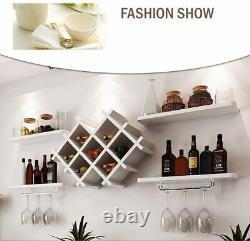 White Wall Mount Wine Rack Bottle Glass Holder 4 Shelves Bar Accessories Shelf