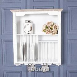 White Wall Mounted Plate Rack Unit Storage Hooks Shelf Holder Wood Kitchen Brown