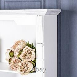 White Wall Mounted Plate Rack Unit Storage Hooks Shelf Holder Wood Kitchen Chic
