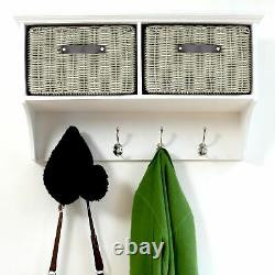 White hallway coat rack and storage bench with cushion and baskets. QUALITY