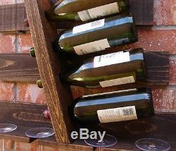Wine Rack Bottle Glass Slot Holder Wood Storage Kitchen Bar Display Wall Shelves