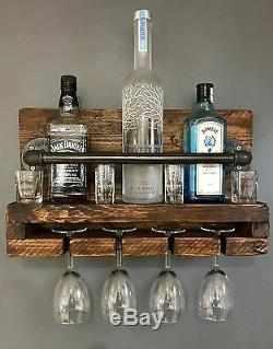 Wine Rack /Glass Rack / Reclaimed Wood / Industrial Chic Wine Rack