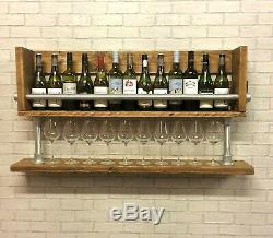 Wine Rack, Home Bar, Wine Glass Holder, Display Shelves, Industrial Rustic