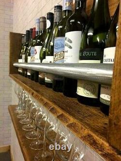 Wine Rack, Home Bar, Wine Glass Holder, Display Shelves, Industrial Rustic Wood