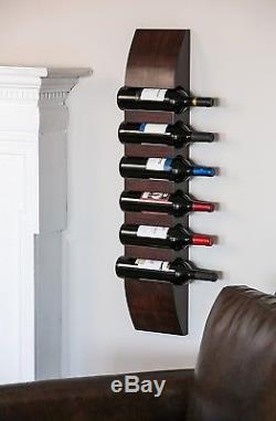 Wine Rack Storage 6 Bottle Wall Mount Modern Wood Finish