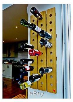 Wine Rack Wall Mounted Handmade Solid Oak 30 Bottles Eames Mid Century Rustic