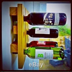 Wine Rack Wall Mounted Handmade Solid Oak 9 Bottles Eames Mid Century Rustic