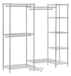 Wire Closet Organizer System Steel Storage Wardrobe Clothes Hanging Rack White