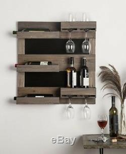 Wood Wine Rack With Chalkboard 25 X 27 Holds Glasses And Bottles