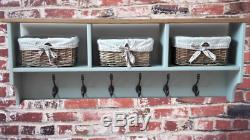 Wooden Shoe Rack Bench Storage Unit and Coat Hanger Baskets Iron Hooks