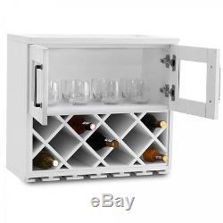 Wooden Wine Rack Cabinet Wall Mount White Home Bar Kitchen Storage Glass Door